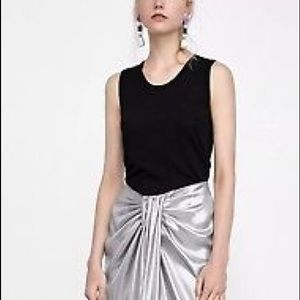 NEW ZARA silver metallic wrap skirt